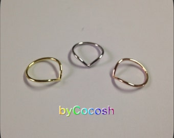 Chevron sterling silver 925, chevron ring set, silver ring, thin ring,bycocosh