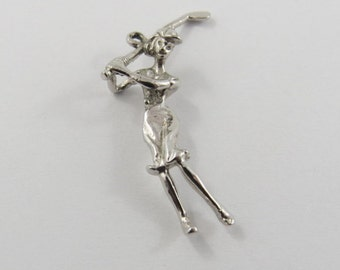 Golfer in Mid Swing Sterling Silver Charm or Pendant.