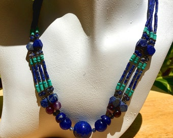 Lapis and Turquoise Necklace   Lapis Lazuli Necklace   Southwest Necklace   Southwestern Jewelry   Beaded Jewelry   YOUR CHOICE