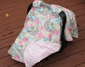 Pink and Gray Girls Carseat Canopy Minky Cotton
