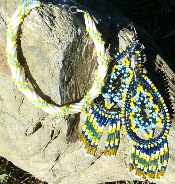 Blue, yellow and white Bracelet and Earring Set