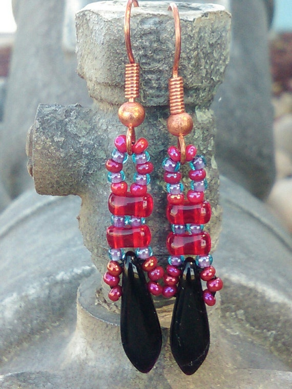 Black, Red and Opaque Blue Dangle Earrings