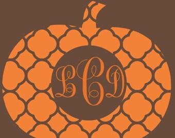 custom monogrammed vinyl quatrefoil pumpkin shirt