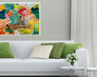 Giclee Print of Original Abstract Painting:Rope Swing