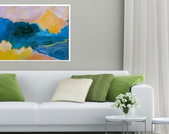 Giclee Print of Original Abstract Painting: Mountains