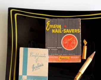 1940's Beauty Lot Matchbook style Emery Boards, Lipstick Papers, And Manicure Stick