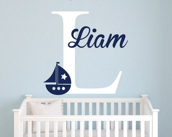Personalized Name Wall Decal - Sailboat Wall Decal - Nautical Wall Decal - Baby Nursery Wall Decal - Nautical Theme Nursery Vinyl Wall Decal