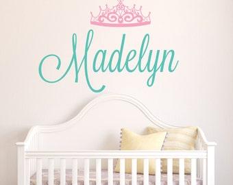 Personalized Name Wall Decal - Crown Name Decal - Baby Girl Name Decal - Nursery Wall Decal - Princess Tiara Girls Room Wall Art