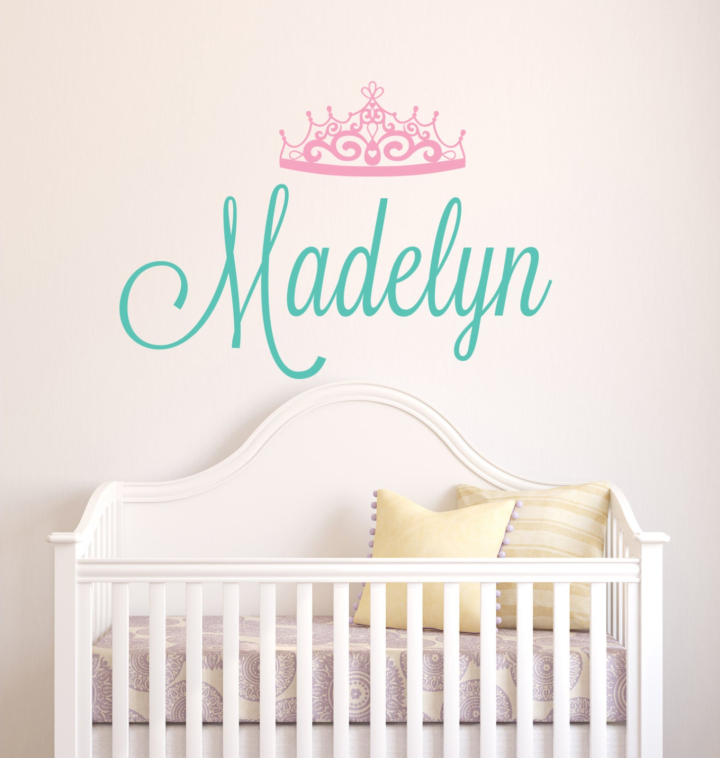 Personalized name wall decal crown name decal baby girl zoom amipublicfo Gallery