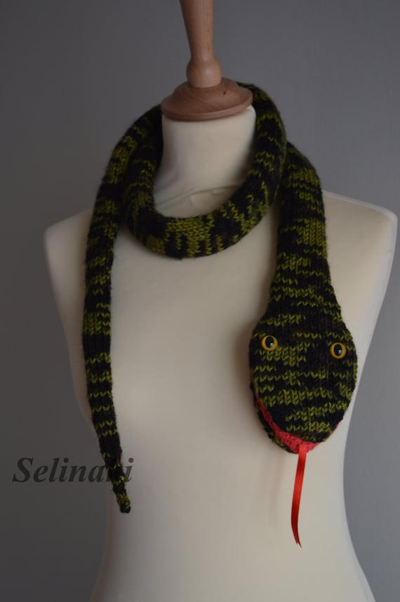 Snake Scarf Knitting Pattern : Knit Snake Scarf Animal Scarf
