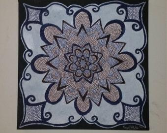 Original Hand-drawn Original Navy Blue Mandala