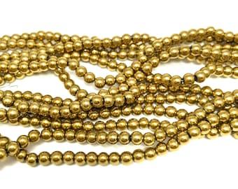 """4mm Gold Plated Hematite Full 16"""" Strand (99 Round Beads)"""