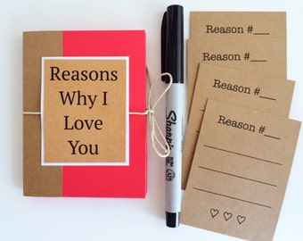 Reasons Why I Love You Book, Boyfriend Gift, Mini I Love You Because Book, Husband Gift, Love Notes, Valentines Day Gift, Anniversary