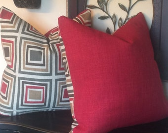 Red Geometric Throw Pillow, 22 x 22 Pillow Cover, Red Cushion Cover, Pillow Decor, Housewares Decor, Red Decorative Pillow 0015