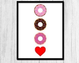 Donut Printable Donut Wall Art Doughnut Printable Digital Download Doughnut Illustration Donut Wall Art Printable Art Food Wall Art