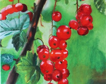 red currants on the Bush oil painting, realistic, oil paint on canvas, oil painting, 60 x 40 cm, in layers painted without frame