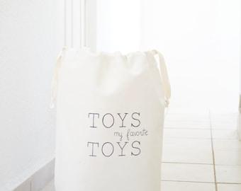 "Large toy storage bag ""My Favorite TOYS"". Nursery decor. Kids room fabric bag. Toys organizer. Natural canvas. Cloth storage. Baby hamper"