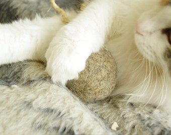 Felted cat ball in cappuccino color with tail - wool ball - natural cat toy - kitten toy