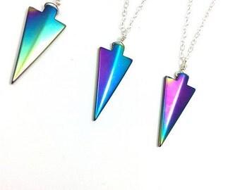 Rainbow Hematite Necklace- Crystal Arrowhead Necklace- Stone Arrow Necklace- Titanium Rainbow Crystal Pendant- Long Layered Crystal Necklace