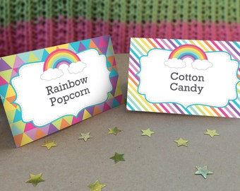 Rainbow Party Tent Cards - Rainbow Party Printables - Rainbow Party Food Labels - Rainbow Birthday - Edit yourself at home!