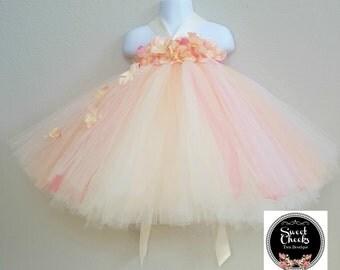 peach flower girl dress, flower girl dress, tutu dress, peach dress, flower girl tutu, fairy dress, toddler dress, toddler tutu dress