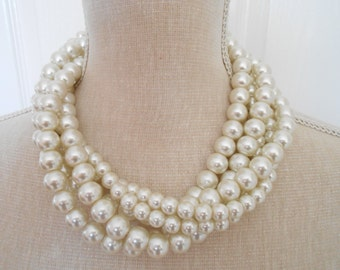 Pearl necklace: ivory glass pearls, Bridesmaid Gifts, Brides jewelry, Brides necklace, Bridal jewelry, pearl wedding, wedding jewelry