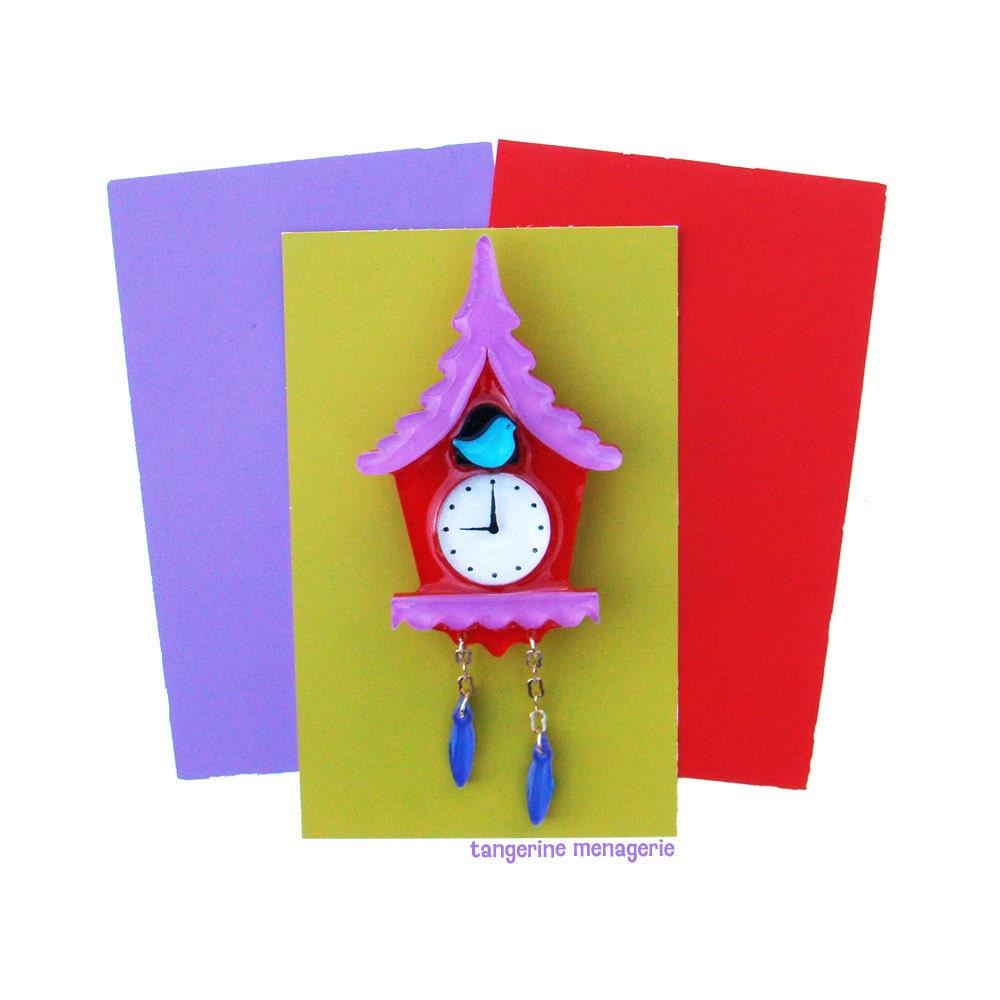 Cuckoo Clock Vintage Inspired Novelty Brooch Colorful Folk Art Statement Brooch Whimsical