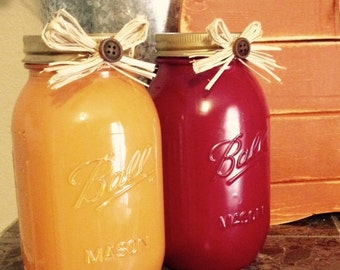One Fall Pumpkin Orange or Maroon Quart Mason Jars for your home, wedding, shower