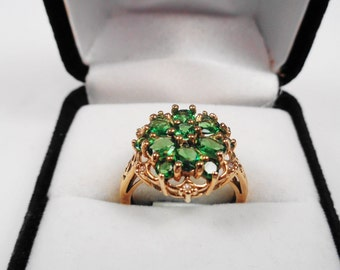 Tsavorite Garnet Cluster Ring. Natural Tsavorite Garnets & Diamonds in a 10kt Yellow Gold Ring