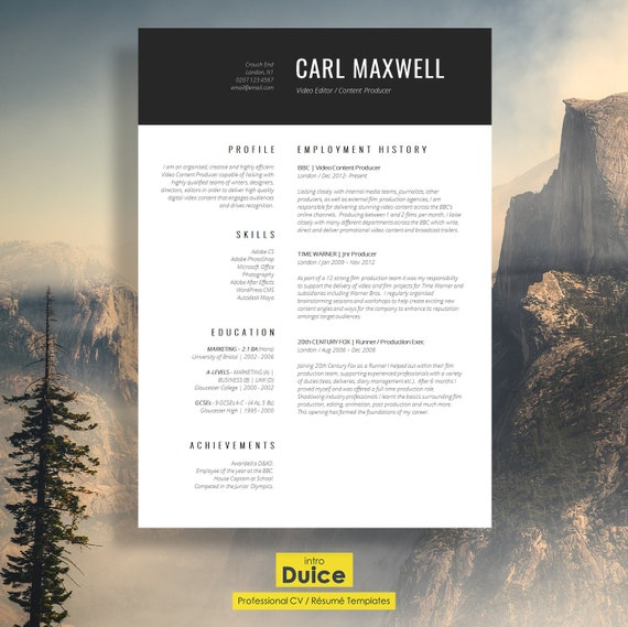 professional resume template cv template resume advice cover letter word mac