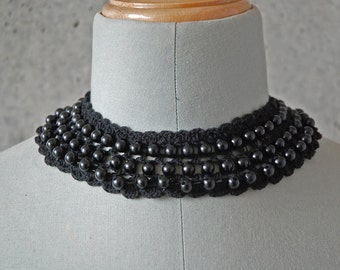 Beaded Crochet Choker. Black. Adjustable.
