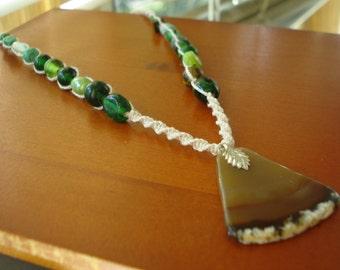 Hemp Necklace, Agate Necklace, Agate Jewelry, Hemp Jewelry, Macrame Necklace, Macrame Necklace, Boho Jewelry, Glass Beaded Hemp