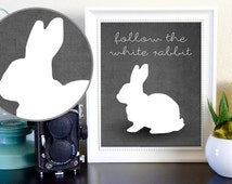 Follow the White Rabbit The Matrix Alice in Wonderland Instant Poster on Gray Background Digital Download * 15% off use code HOLIDAY *