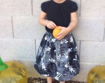 Toddler Halloween Skirt, Toddler Skirt, Halloween Skirt, Girls Halloween Skirt - Skeleton Skirt