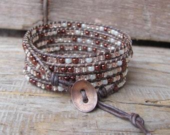Beaded Wrap Bracelet, Leather Wrap Bracelet, Wrap Bracelet, 5 Wrap Bracelet, Bracelet Wraps, Beaded leather wrap, Leather Wrap Bracelets