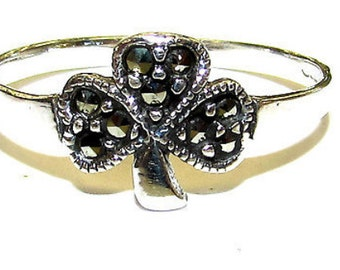 sterling silver Irish marcasite shamrock flower ring. Irish ring, Irish shamrock ring, sterling silver ring