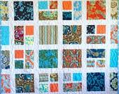"Handmade Quilt, Turquoise and Orange Quilt, 52"" x 62"", Belle Quilt, Amy Butler Fabric, Modern Quilt, Floral Quilt, Throw Quilt, Lap Quilt"