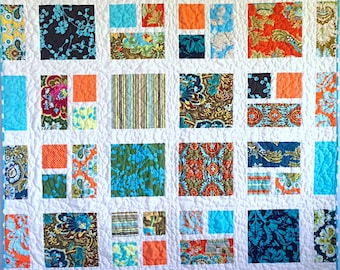 "Handmade Quilt, Turquoise and Orange Quilt, 52"" x 62"", Belle Quilt, Amy Butler Fabric, Modern Quilt, Floral Quilt, Throw Quilt, Lap Quilt"