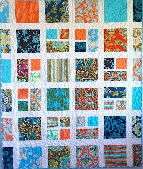 Handmade Quilt Turquoise and Orange Quilt 52 x : orange quilt fabric - Adamdwight.com
