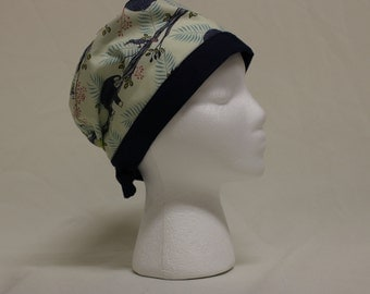 Cute Sloth and Chameleon on Branch Surgical Scrub Cap Chemo Hat