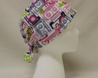 Neon 90s Cassette Music Mix Tapes FLANNEL Surgical Scrub Cap Chemo Hat