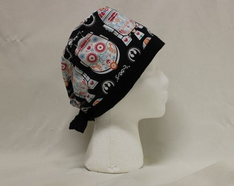 Star Wars Sugar Skull C-3PO and R2D2 Surgical Scrub Cap Dentist Vet Chemo Hat