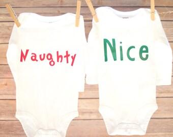 Naughty and Nice Christmas Shirts, Naughty Nice Baby Shirts, Sibling Christmas Shirts, Twin Christmas Shirts, Naughty Nice Toddler Shirts
