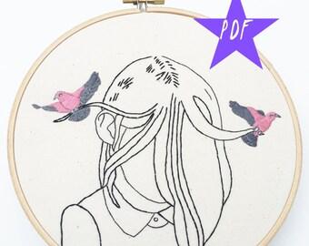 Embroidery Pattern, Modern Embroidery Pattern, Introvert PDF