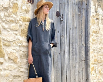 JEFF caftan. Black olive minimal tunic. Pure linen kaftan for women. Unique minimal design.