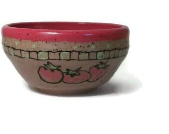 Pottery Bowl, Wheel Thrown Pottery, Stoneware Bowl, Tomato Bowl, Small Pottery Bowl, Hand Painted Pottery, Rustic Pottery, Farmhouse Bowl