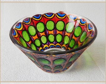 Glass salad BOWL, hand painted candle holder, rainbow colors, stained glass, home decor, Butterfly wings, fantasy style, Housewarming gift