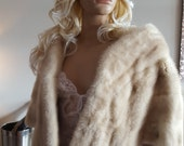 Luxury Vintage Ivory  Mink Stole - Creamy White - Platinum Blonde genuine  Mink Fur - Stole - Wedding bolero - Bridal Fur - shrug - wrap