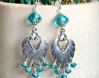 Teal Leaf Earrings, Boho Chandelier Earrings, Czech Glass Earrings, Teal Statement Earrings, Silver and Teal Czech Glass Earrings