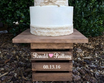 Rustic Wedding Cake Stand, Personalized Wedding Cake Stand, Wedding Centerpiece